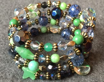 Unique Hand made green & blue beaded multi strand bracelet using vintage and modern elements