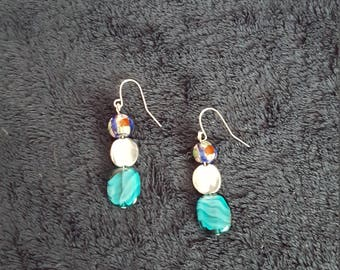 Painted bead and silver earrings