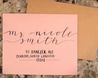 Nicole style envelope - hand lettered calligraphy addressed envelopes