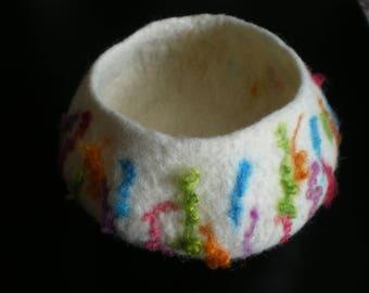 Cream merino and bright multi coloured wool locks wet felted bowl