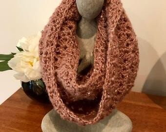 Infinity Scarf with Sparkle - Hand Crocheted