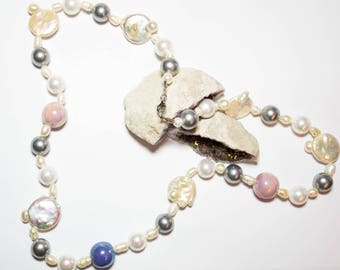 Necklace with freswater glass pearls with 925 silver