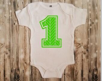 First Birthday Chevron Print 1 - First Birthday Bodysuit - Chevron Baby's Bodysuit - Chevron Outfit - Baby's First Birthday - Chevron Theme