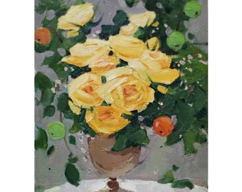 Spring Still life Flowers in the vase Roses Apples Painting Original Painting Impressionism Yellow Flowers Oil on canvas Small Painting