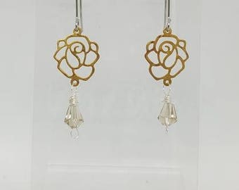 Handmade Yellow Gold Plated Rose Drop Earrings w/ Crystal Drop