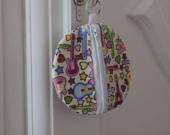 Earphone case, earbud holder, coin purse, guitar pick plectrum case, keyring