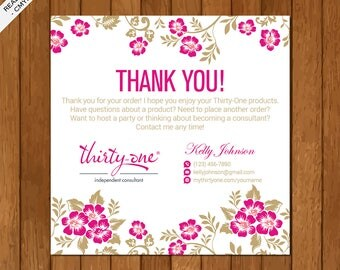 Thirty One Thank You Card, Printable Files, Elegant Business Card, Pink Flowers, TO01
