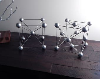 Molecular model, handmade - bcc and fcc unit cells - science art decor - chemistry - physics - mid-century modern sculpture - geometric