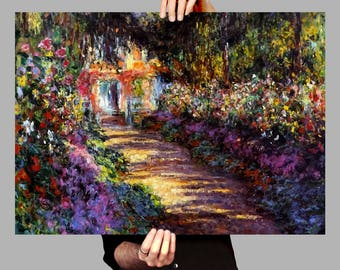 Poster 50x70 cm Garden Path at Giverny - Claude Monet Digital