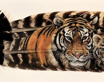 Hand Painted Wild Turkey Featherss- Tiger and Cubs