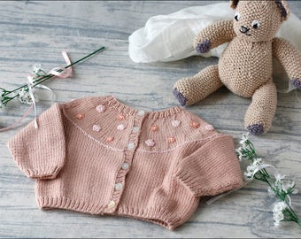 Baby Girl Cardigan/Baby hand knit/pink/3-6 months/New Baby Gift/Baby shower/baby girl handknit/baby sweater/knitted baby clothes/baby jacket