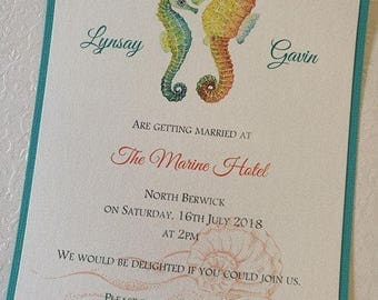 Wedding Invitation with Sea Horse - Print your own or Ready Made