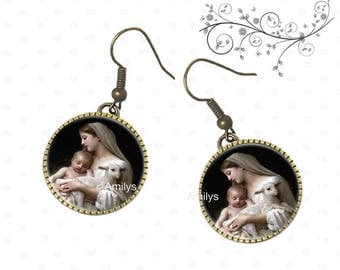 Religious earrings, communion, confirmation, Virgin, lamb.