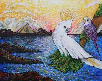Birds and Pyramids Fine Art ORIGINAL Acrylic Painting on Canvas