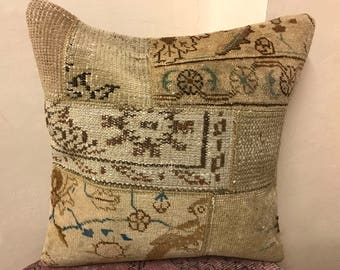 Handwoven Faded Pillow, Boho Pillow, FADED Rug Pillow, Handmade Pillow Cover, Bohemian Pillow, Turkish Pillow, Vintage Pillow, Rug Pillow