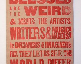 Red Letterpress Poster