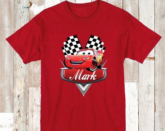 Lightning McQueen Tee Tees T-Shirt With Custom Name Cars Disney Personalized With First Name Disney Cars On Onesies Cars Bibs and Tees, aa22
