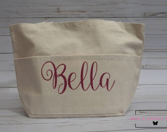 Custom Glitter Name Tote Bag (SMALL CANVAS BAG with Thee Pockets)