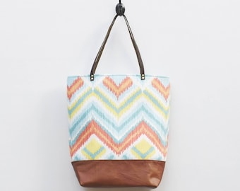 Canvas Tote - Colorful Chevron Pattern Print, Faux Leather Bottom, Leather Straps, Bright Colors, Geometric Tote, Book Bag, Everyday Tote