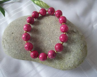 Magnesite Stretch Bracelet in Pink