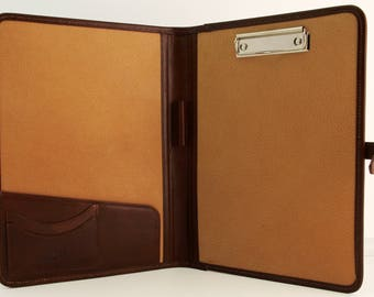 Noda Italian Genuine Leather Business Presentation Meeting Conference Folder a4 with Clipboard Brown