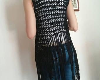 Fringe vest, Hippie Crochet Vest, ,crochet beach fringe vest,  Boho vest, Crochet summer cardigan, Knitted fringe vest,  Boho Chick clothes