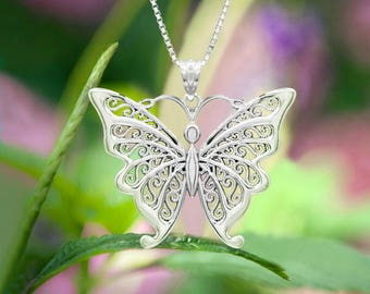 Butterfly Filigree Pendant Necklace