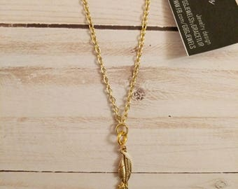 Gold Leaf and Chain Tassel Chocker short layering necklace. Minimal  fashion jewelry. Gift for her HANDMADE