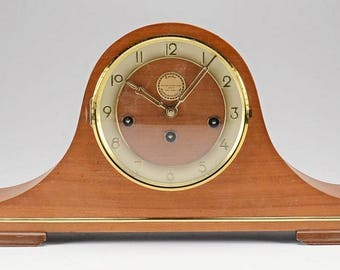 Franz Hermle | Tander Clockmakers | Walnut and Brass Mantel Clock | Vintage