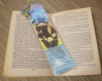 One of a kind silhouetted ship watercolour bookmark