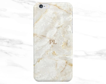 Personalised Name small initials Natural Stone Marble Phone Case Cover for Apple iPhone 5 6 6s 7 8 Plus & Samsung Galaxy Customized Monogram