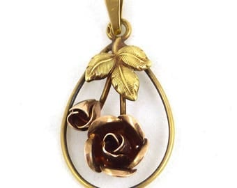 14K Gold antique Rose flower Pendant. Weight 2.9 grams. Vintage gold jewelry. Gold vintage pendant.