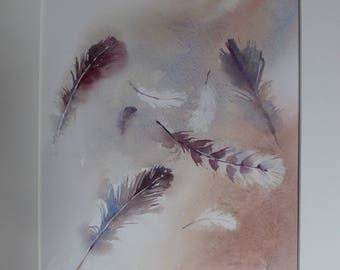 Red Feathers - Original Watercolour by Sue Rubira