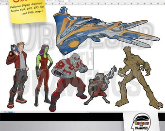 The Guardians of the Galaxy Cartoons clipart, PNG images with excellent resolution and SVG patterns, papecraft applications and more