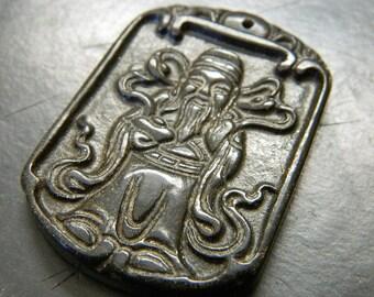 Black Jade Caishen / Zhao Gong / Yuanshuai Amulet Pendant - Chinese New Year God of Wealth & Prosperity DR25