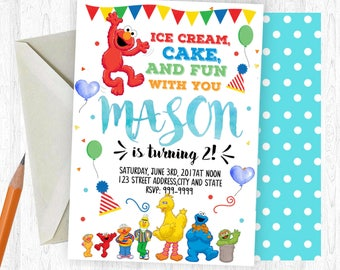 Sesame Street Birthday Invitation, Sesame Street Invitation, Sesame Street, birthday invite, Birthday Party,  Printable Invitation