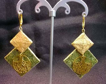 Paper and gold leaf earrings.