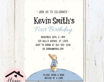 Peter Rabbit Baby Shower Invitation, Gender-Neutral, Unisex, Storybook Invitation, Digital File or Printed, Custom, Personalized