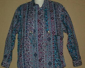 Vtg 80's Womens FRONTIER SERIES Western Shirt Size M Cowgirl Rodeo Purple Blue