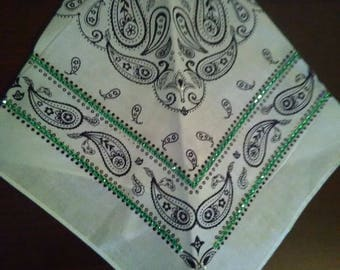 L White Bandana with Green Rhinestones