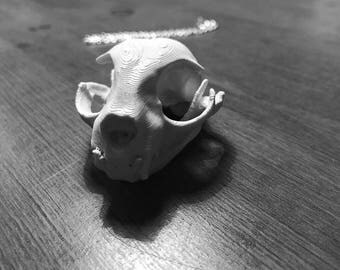 3D Printed Cat Skull Necklace - Black or White