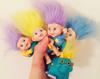 Set of 5 Vintage Troll Dolls and Dinosaur - 1991 - Russ and Applause - Includes Rare Dino Troll