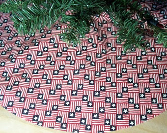 Patriotic Red White Blue Flags Independence Day  4th of July Holiday Tree Skirt