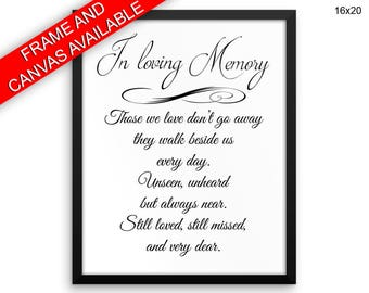 Remembering Wall Art Framed Memorial Canvas Print Remembering Framed Wall Art Memorial Poster Remembering Memorial Sign Those We love Quote