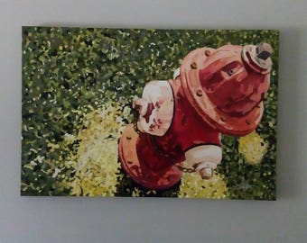 Original Oil painting - Fire Hydrant #1