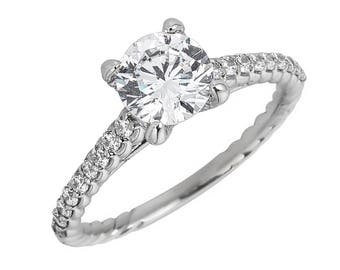 Style #184-E, 14K gold CZ (Cubic Zirconia), Engagement Ring