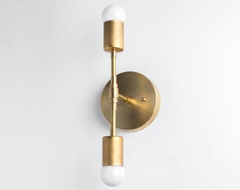 Gold Sconce Light - Brass Wall Light - Mid Century Sconce - Modern Gold Fixture - Brass Sconce