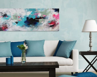 Original Abstract Painting 16x40x1.5, Chaos