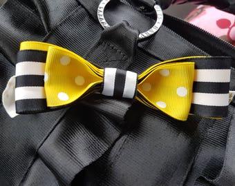 Grosgrain triple ribbon bow with elastic ties for Harveys seatbelt bag