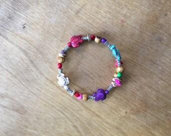 Handmade Memory Wire Beaded Bracelet